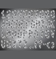 stylized metal font with texture in the form of a vector image vector image