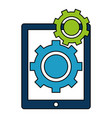 tablet electronic with gears vector image vector image