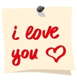 The inscription on the sticker about love vector image