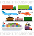 transport vehicles plane and train truck with vector image vector image
