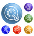 turn off timer button icons set vector image