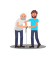 young guy caring for senior man grandpa with vector image