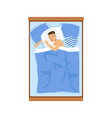young man sleeping in his bed relaxing person vector image vector image