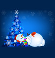 abstract christmas tree and lying snowman vector image vector image