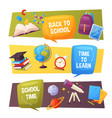 back to school banner set cartoon elements vector image vector image