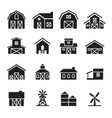 barn farm building icon set vector image vector image