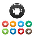 beautiful teapot icons set color vector image