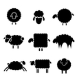 black silhouette of sheeps vector image vector image