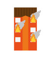 building on fire icon image vector image