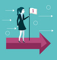 business woman standing on the arrow with first vector image