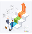 businessman handshake in front staircase vector image vector image