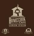cafe theme logo set vector image