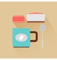 Coffee flat modern icons with shadow vector image