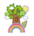 cute fairytale tree with rainbow vector image vector image