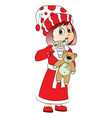 cute girl holding teddy bear and brushing her vector image