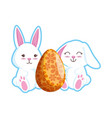 cute rabbits couple with easter egg painted vector image vector image