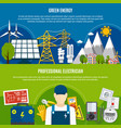 electrician and clean energy flat banners vector image vector image