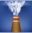 factory chimney and smoke on blue background vector image