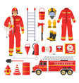firefighter uniform and equipment set flat vector image