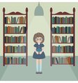 girl in library vector image