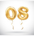golden number 0 8 zero eight balloon party vector image vector image