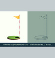 golf hole with flag icon game equipment vector image