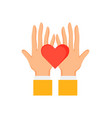 hands holding red heart sign vector image