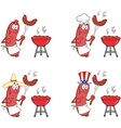 Happy Sausage on Picnic Collection vector image vector image