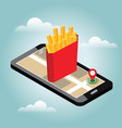 isometric city food delivering hot-dog mobile vector image