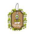label with bulb and leaves decoration design vector image