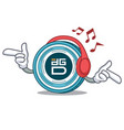 listening music digixdao coin mascot cartoon vector image vector image