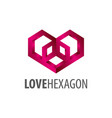 love hexagon logo concept design symbol graphic vector image vector image