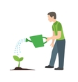 Man Watering Plant vector image vector image