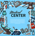 medical center and medicine items sketch poster vector image vector image