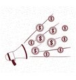 megaphone sound with coins money vector image