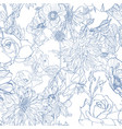 pattern with hand drawn line garden flowers vector image vector image