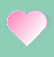 Pink heart with long shadow in green background vector image vector image