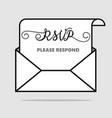 please respond letter rsvp wedding concept vector image