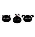 rabbit bunny cat kitty kitten dog face head set vector image vector image