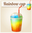 rainbow ice cup frozen drink cartoon icon vector image vector image