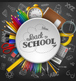 school supplies in a circle on black background vector image vector image