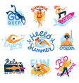 sea activities emblems set vector image