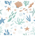 sea world cartoon hand drawn seamless pattern vector image vector image