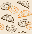 seamless pattern with croissant and bagel vector image vector image