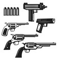 set handguns and revolvers isolated on white vector image vector image