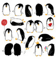 set of isolated funny penguins vector image