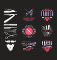 set vintage barber shop badges vector image