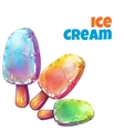 set with tree color ice creams vector image