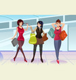 shopping women at the mall vector image vector image
