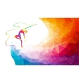 Silhouette of spectrum color gymnastic girl with vector image